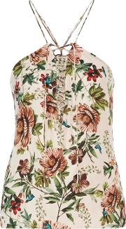 Woman Cross My Heart Lace Up Printed Silk Crepe De Chine Top Neutral Size S