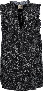 Woman Ruffle Trimmed Printed Crepe De Chine Top Black Size Xs