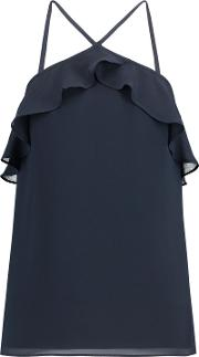 Woman Ruffled Crepe Top Storm Blue Size Xs