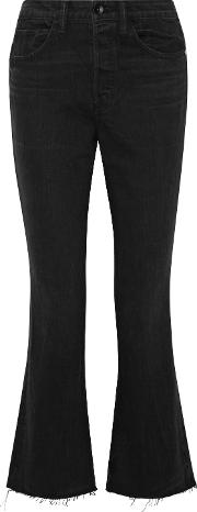 Cropped High Rise Flared Jeans
