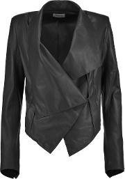 Woman Leather Jacket Dark Green Size S