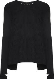 Woman Open Back Ribbed Knit Sweater Black Size L