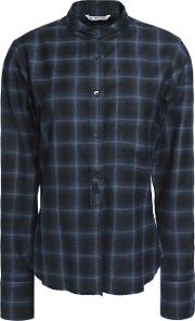 Woman Plaid Wool And Cashmere Blend Shirt Navy