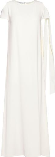 Woman Silk Trimmed Crepe Maxi Dress Ivory