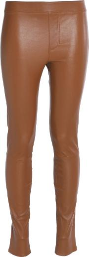 Woman Stretch Leather Leggings Camel Size 2