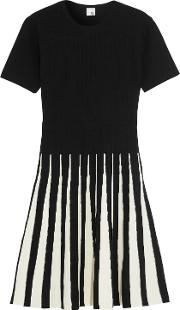 Woman Alice Pleated Two Tone Ribbed Knit Dress Black Size 12