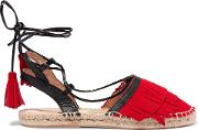 Woman Lace Up Suede And Leather Espadrilles Red