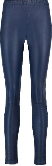 Woman Lila Leather Leggings Navy Size 6