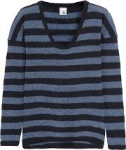 Woman Striped Cashmere Sweater Midnight Blue