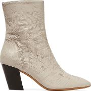 metallic sliced leather ankle boots