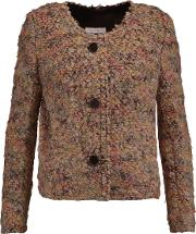 Woman Boucle Jacket Beige Size 40
