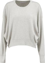 Woman Ribbed Wool Sweater Light Gray Size S