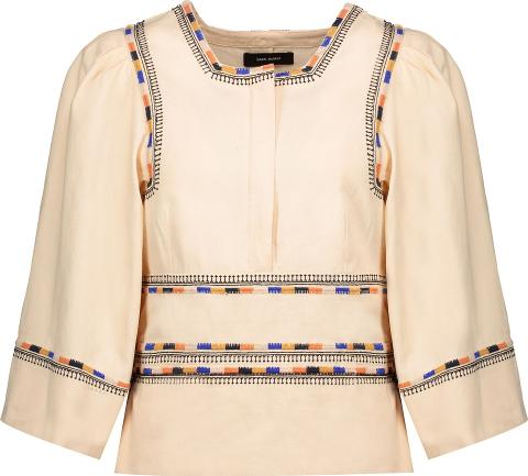 Woman Siloe Embroidered Cotton Top Ecru Size 38