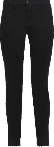 Woman 811 Distressed Mid Rise Skinny Jeans Black Size 25