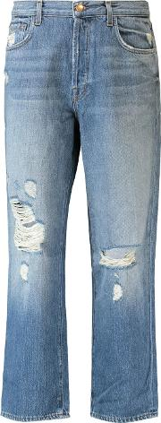 Woman Ivy Cropped Distressed Jeans Light Denim Size 25