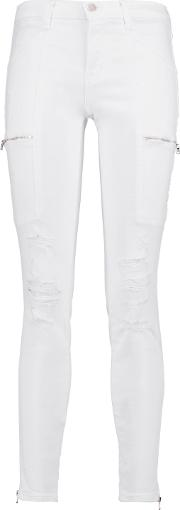Woman Kassidy Distressed Mid Rise Skinny Jeans White