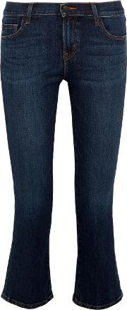 Woman Selena Cropped Mid Rise Bootcut Jeans Mid Denim Size 32