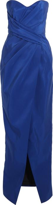 J. Mendel Woman Strapless Two Tone Ruched Silk Gown Royal Blue Size 10