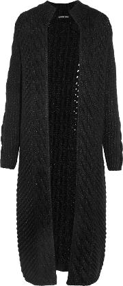Woman Cable Knit Wool Blend Cardigan Black Size 0