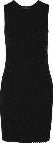 Woman Ribbed Cotton Blend Mini Dress Black