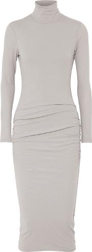 Woman Ruched Stretch Cotton Jersey Turtleneck Midi Dress Stone