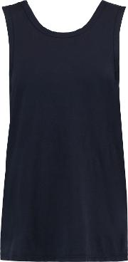 Woman Wrap Effect Cotton Jersey Tank Navy Size 2
