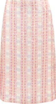 J.crew Woman Collection Sequined Silk Georgette Midi Skirt Pink Size 4