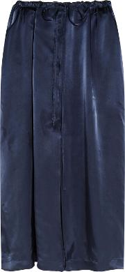 Woman Satin Midi Skirt Navy