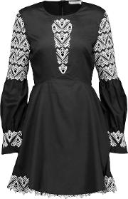 Woman Guipure Lace Paneled Cotton Poplin Mini Dress Black