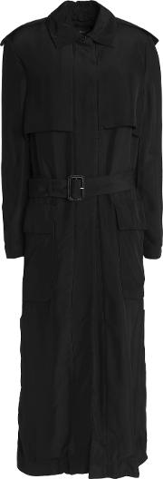 Woman Crepe Trench Coat Black Size 40