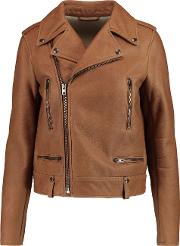 Woman Rider Leather Jacket Camel Size 42