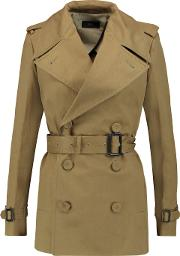 Woman Townie Belted Cotton Twill Trench Coat Army Green Size 38