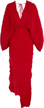 Woman Crinkled Plisse Silk Maxi Dress Red