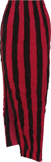 Woman Striped Crinkled Silk Crepe De Chine Maxi Skirt Red Size 6