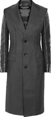 Woman Quilted Faux Leather Paneled Wool Jacket Dark Gray Size S
