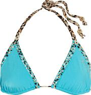 Woman Embellished Triangle Bikini Top Turquoise