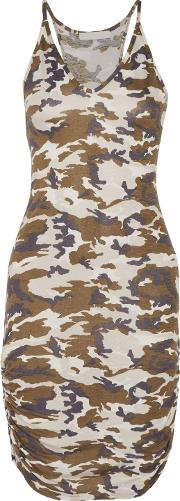 Woman Rica Ruched Printed Stretch Jersey Dress Beige Size Xs