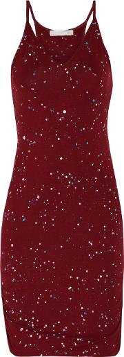 Woman Rica Ruched Printed Stretch Jersey Dress Burgundy Size L