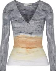 Woman Rose Wrap Effect Tie Dyed Ribbed Cotton And Modal Blend Top Gray Size M