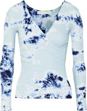 Woman Rose Wrap Effect Tie Dyed Ribbed Cotton And Modal Blend Top Sky Blue Size S