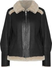 Woman Leather Trimmed Shearling Jacket Black Size M
