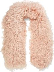 Woman Shearling Scarf Baby Pink