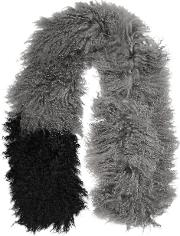 Woman Two Tone Shearling Scarf Gray Size Onesize
