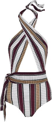 Woman Palazzo Striped Wrap Swimsuit Burgundy