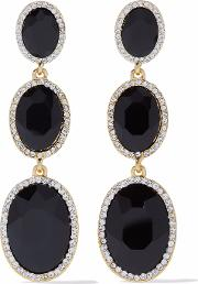 Gold Tone Stone And Crystal Earrings