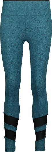 Woman Acme Mesh Paneled Marled Stretch Leggings Teal Size S
