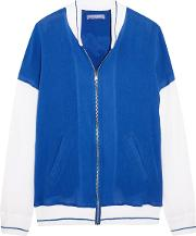Woman Embroidered Cotton Gauze Bomber Jacket Bright Blue