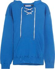 Woman Surfy Surfy Appliqued Cotton Blend Jersey Hooded Top Bright Blue