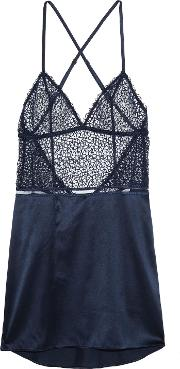 Woman Circles Silk Satin Blend And Embroidered Mesh Chemise Midnight Blue