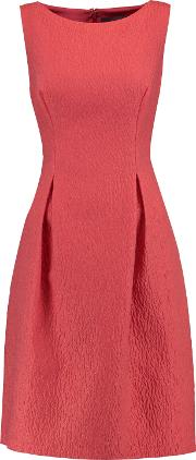 Woman Betsy Wool Blend Matelasse Mini Dress Coral